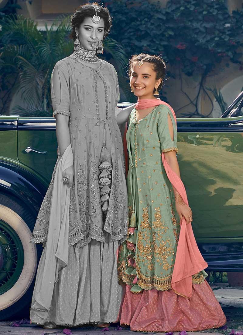 Festival Wear Latest Designer Georgette Kids Sharara Suits Wholesale Collection Catalog