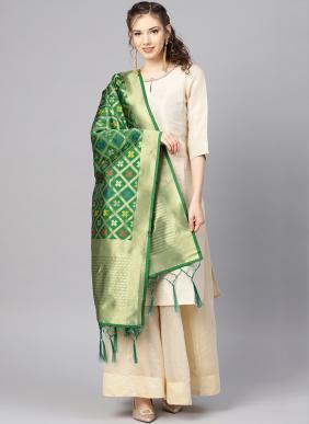 New Fancy Green Banarasi Silk Traditional Wear Zari Work Dupatta
