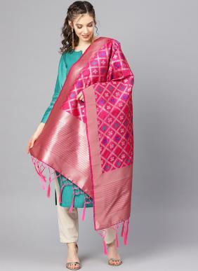 Zari Work Rani Banarasi Silk Traditional Wear Dupatta