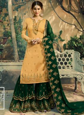 Georgette Yellow And Green Embroidery Work Sharara Suit