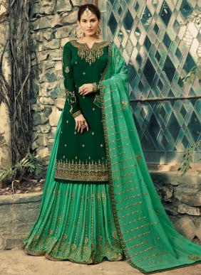 Georgette Wedding Wear Green Embroidery Work Sharara Suit