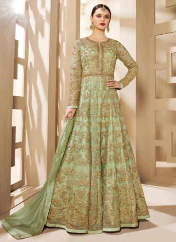 Green Net Reception Wear Embroidery Work Beautiful Anarkali Suit