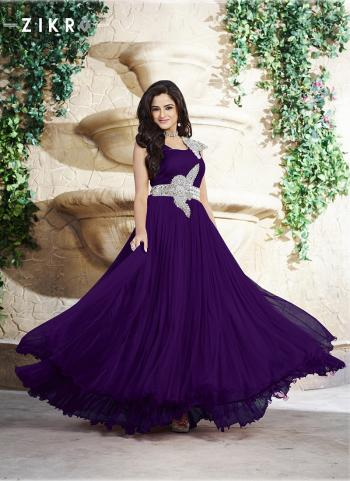 Soothing Purple Party Wear Hand Work Floor Touch Gown