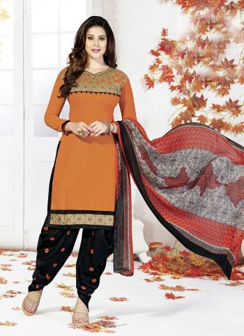 Orange Chanderi Wholesale Patiala Suit Supplier Shop
