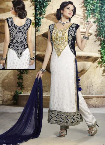Adorable White Pure Chiffon Straight Salwar Suit