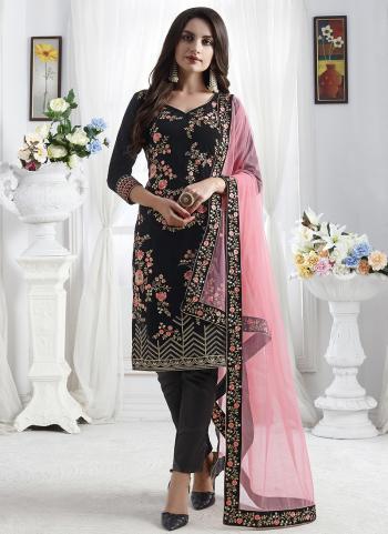 Velvet Embroidery Work Traditional Wear Black Churidar Suit