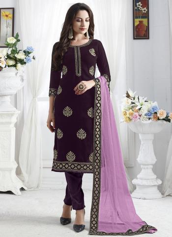 Party Wear Wine Velvet Embroidery Work Churidar Suit