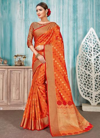Traditional Wear Orange Cotton Weaving Saree
