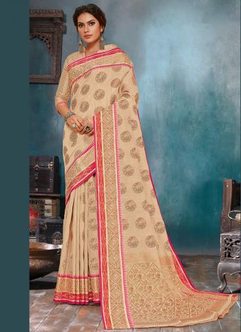 Festival Wear Beige Silk Linen Saree