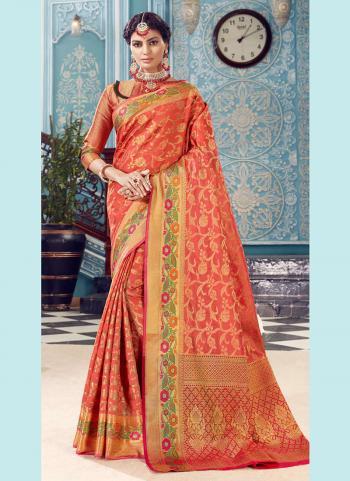 Wedding Wear Pink Banarasi Silk Weaving Saree