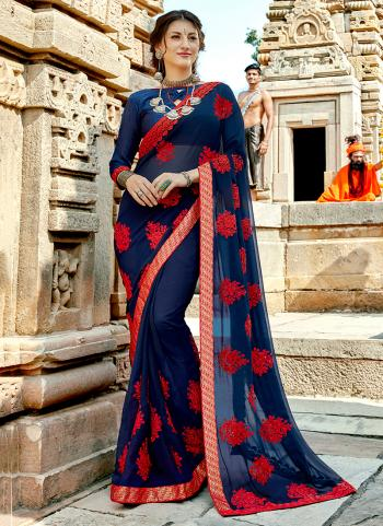 Party Wear Blue Georgette Embroidery Work Saree