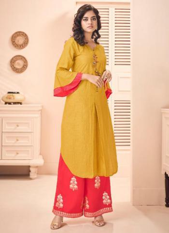 Regular Wear Yellow Silk Hand Work Kurti With Palazzo