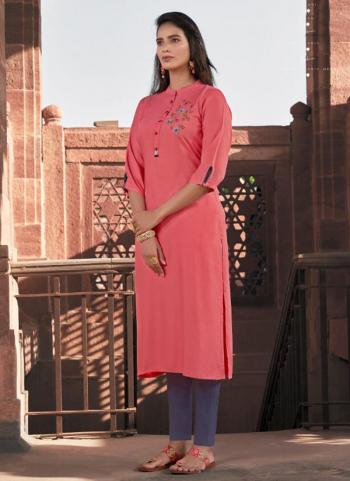 Daily Wear Pink Rayon Hand Work Kurti