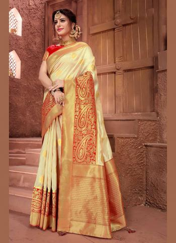 Beige Silk Traditional Wear Weaving Saree