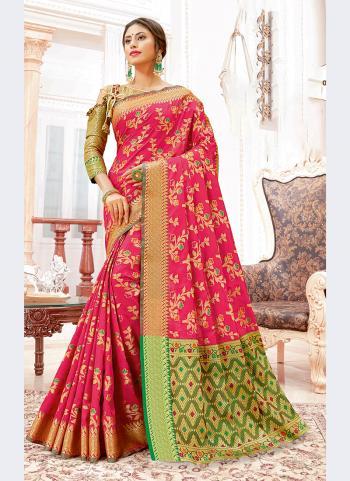 Pink Banarasi Silk Party Wear Weaving Saree