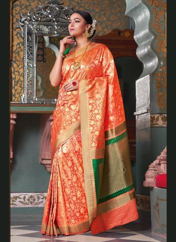 Orange Silk Wedding Wear Weaving Saree