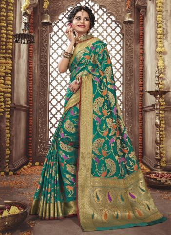 Green Silk Traditional Wear Weaving Saree