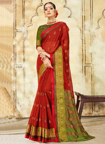 Red Cotton Casual Wear Weaving Saree