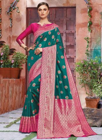 Green Banarasi Silk Party Wear Weaving Saree