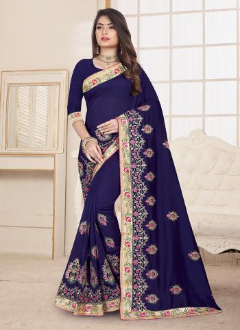 Blue Silk Festival Wear Embroidery Work Saree