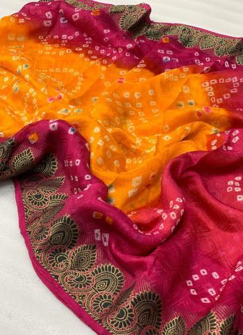 Orange Art Silk Traditional Wear Printed Work Saree