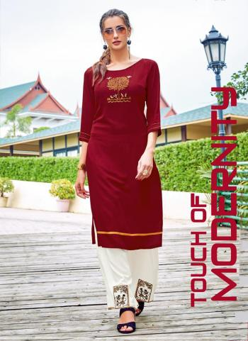 Red Rayon Office Wear Embroidery Work Kurti With Palazzo
