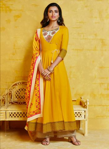 Yellow Muslin Party Wear Embroidery Work Readymade Palazzo Suit