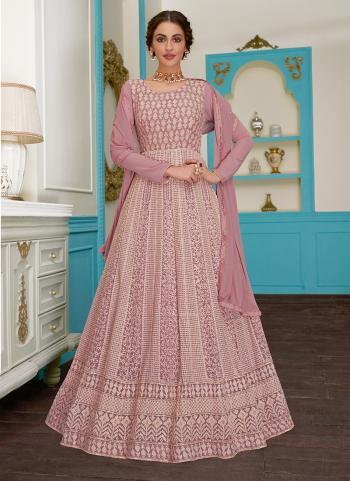 Pink Georgette Party Wear Embroidery Work Anarkali Suit
