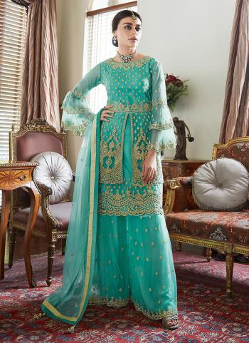 Blue Net Wedding Wear Embroidery Work Sharara Suit