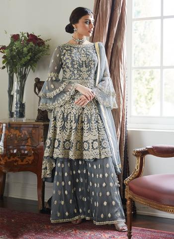 Grey Net Wedding Wear Embroidery Work Sharara Suit