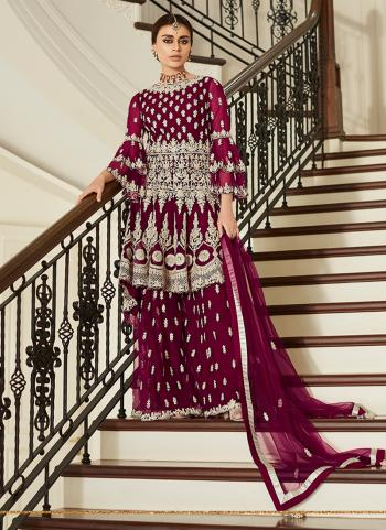 Purple Net Wedding Wear Embroidery Work Sharara Suit