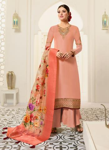 Orange Georgette Traditional Wear Embroidery Work Palazzo Suit