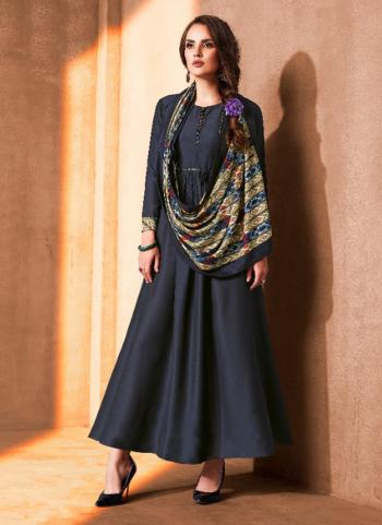 Blue Cotton Party Wear Work Gown With Dupatta