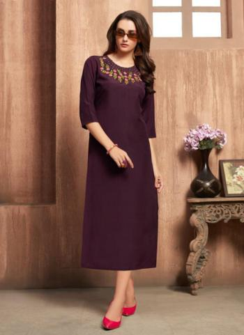 Purple Rayon Daily Wear Embroidery Work Kurti