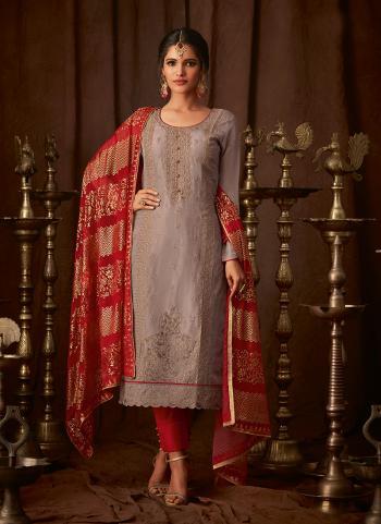 Purple Silk Traditional Wear Embroidery Work Churidar Suit