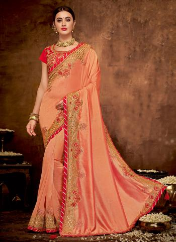 Orange Silk Reception Wear Thread Work Saree