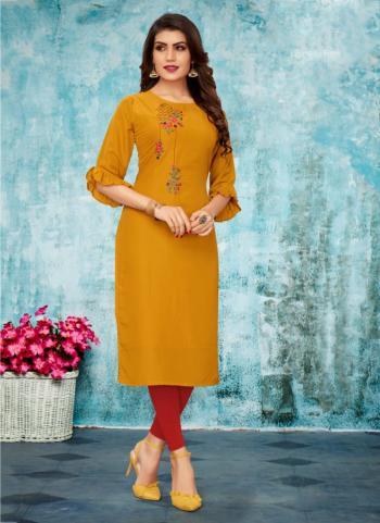 Yellow Cotton Daily Wear Embroidery Work Kurti