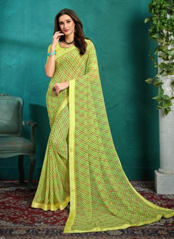 Green Georgette Daily Wear Printed Work Saree
