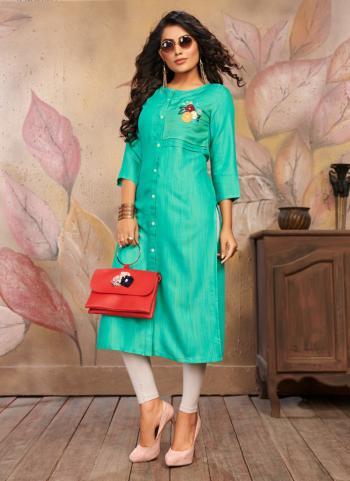 Green Rayon Daily Wear Embroidery Work Kurti