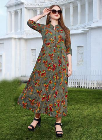 Grey Rayon Regular Wear Printed Work Kurti
