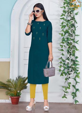 Green Rayon Daily Wear Hand Work Kurti