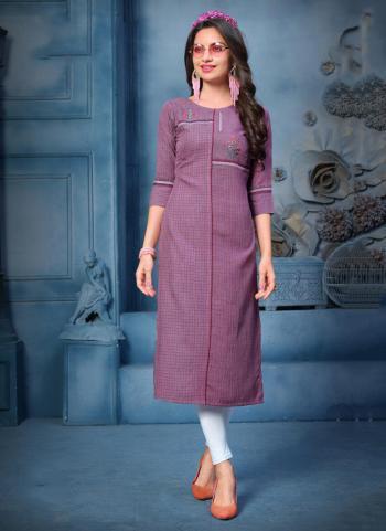 Purple Rayon Daily Wear Hand Work Kurti