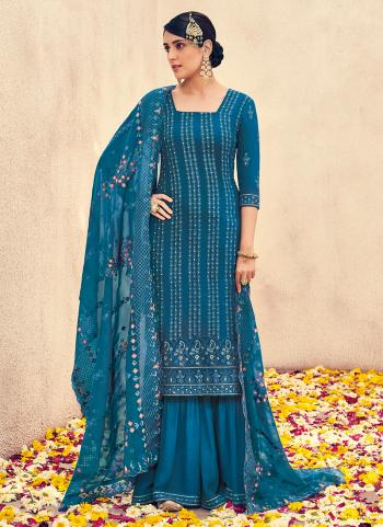 Blue Georgette Wedding Wear Embroidery Work Palazzo Suit
