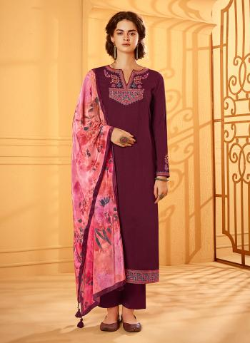 Wine Silk Party Wear Embroidery Work Palazzo Suit