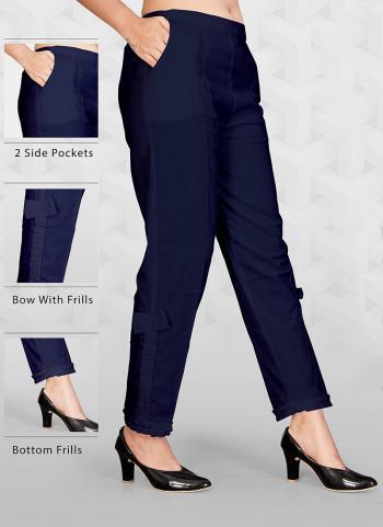 Plain Blue Cotton Regular Wear Pant