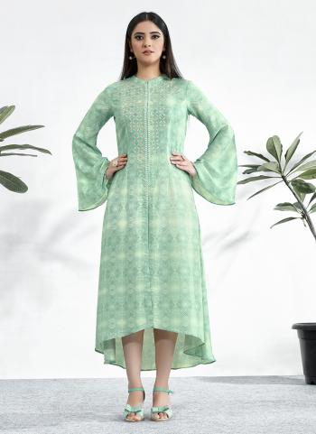 Green Cotton Casual Wear Resham Work Kurti