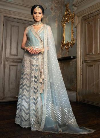 Blue Net Party Wear Mirror Work Pakistani Suit