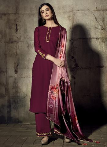 Purple Georgette Traditional Wear Embroidery Work Palazzo Suit