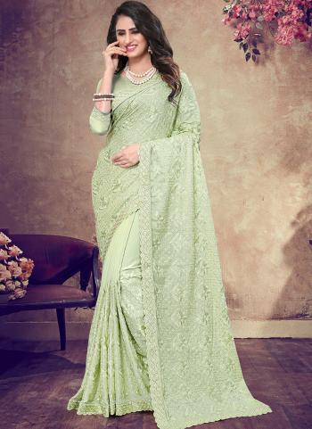 Green Georgette Wedding Wear Embroidery Work Saree