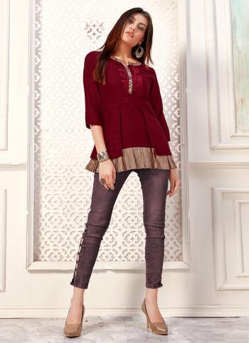 Red Cotton Daily Wear Flex Top